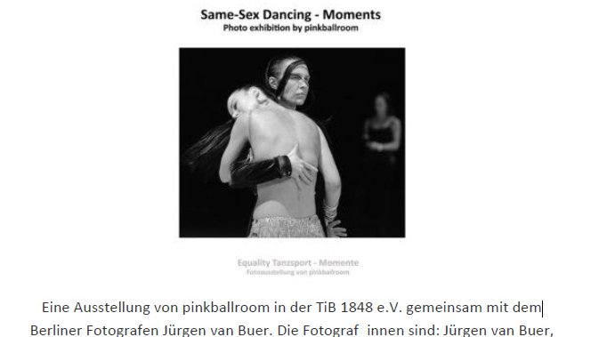"Fotoausstellung ""Equality-Tanzsport– Momente"" in der Kletterhalle Magic Mountain"